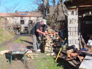 Mike stacking cut & split logs